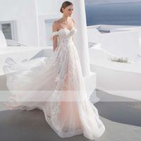 Glamorous Appliques A-Line Wedding Dress Sexy Sweetheart Neck Button Bohemian Bridal Gown Custom Princess Wedding Gown