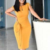 Yellow Elastic Dress Large Size Ladies Women Bodycon Dresses Office Ladies Work Waist Belt Modest Classy African Fashion XXXL XL Y200418