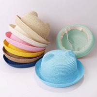 Wide Brim Hats Ncmama Cute Baby Hat With Ears Summer Straw Mesh Girl Boy Kids Snapback Baseball Cap Children Beach Sun