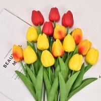 Beaucoup de couleurs fleurs décoratives artificielles de tulipe bouquet de tulipe 34 cm / 13.4 pouce mini fleur de touche réelle DHB6239