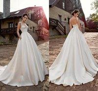 Sexy Spaghetti Straps Boho Garden Wedding Gowns 2021 Chic Lace Satin Sweep Train Modest robes de mariée Backless High Waist Bridal Dress Plus Size Simple AL9062