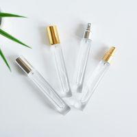 10ml Glass Perfume Spray Bottle Mini Square Refillable Fine Mist Spraying Travel Empty Fragrance Gold Silver Sprayer Cap