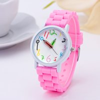 Watches Geneva Rubber Jelly silicone cream candy Wristwatch Fresh color Numerical Pencil pointer Ladies Bracelet Clock