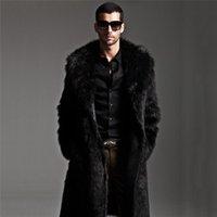 طويل فو معطف الفرو الرجال الشتاء سترة رجل الشرير سترة سترة كامل طول الجلود معاطف الذكور manteau زائد الحجم
