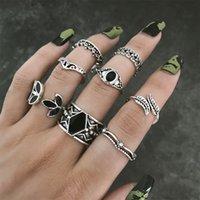 Punk acrílico de metal dedo dedo dedo a través del conjunto de anillo ancho para mujeres Bohemian Metal Geometric Ring 2021 Fashion Tendencia Joyería Regalo
