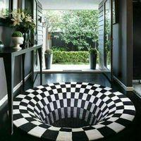 Ковры нескользящие круглая черная белая сетка 3d иллюзия вихревой бездонный отверстие ковровая кофе детская полная комната тумбочка одеяло