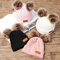 8 estilos de invierno sombrero niños niñas chicas de punto gorros grueso bebé lindo pelo bola gorra infantil niño tapa cálido chico pom pom poms calentador sombreros m926