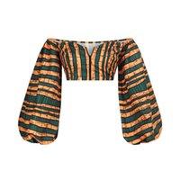 Mulheres Africano Impresso Off Ombro Longa Lanterna Sleeve Crop Top Sexy Blusa Dashiki Ankara Clubwear Outfits Casuais Tradicionais