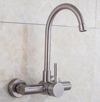 Stainless Steel Bathroom Kitchen Sink Faucet Hot Cold Water Wash Spout Mixer Rotate Head Single Handle Wall Mounted Tap SUS 304 Brushed