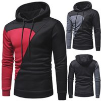 Autumn Winter Classic Style Hoodies Stitching Design Men's Casual Slim Fit Hoodie Color Matching Hooded Pullover Sweater W31