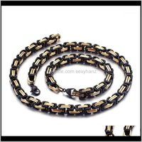 Chains Necklaces & Pendants Jewelry Ne 5Mm 6Mm 8Mm Black Gold Huge Stainless Steel Square Byzantine Chain Necklace Bracelet Hip-Hop Mens Wom