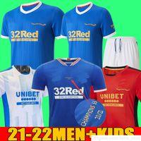 2021 Rangers 150 aniversario Jerseys de fútbol Glasgow 2022 Formación Camiseta campeones 55 Defoe Hagi Barker Morelos Especial 20 21 22