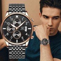 Designer Luxury Brand Watches Olevs Fashion Mens ES Top con cronógrafo deportivo de acero inoxidable Hombres de cuarzo de alta calidad