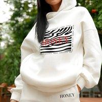 Kadınlar için Polar için Takım Elbise Baskı Boy Kış Kıyafet Rahat Eşofman Spor Ev Suit Hoodies Kadın Pantolon 2 Parça Set 210524