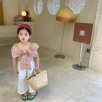 اطفال أطفال بنات كبيرة الجبهة القوس الأزلق القمصان الصيف الأزياء النفخة الأكمام