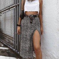 Skirts Foridol Leopard Print Midi Skirt High Waist Casual Womens Autumn Winter Bottoms Floral Side Slit Female 2021