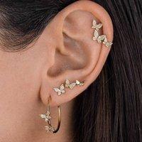 Female Boho Crystal Butterfly Evil Eye Ear Clip Set Women Vintage C Shaped Star Tassel Stud Cartilage Cuff Earrings Jewelry Gift Y1010