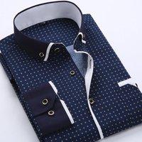 Men's Dress Shirts Slim Business Men Print Long Sleeve Office Formal Casual Tops Mens Clothing