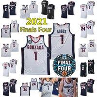 2021 Final Four 4 NCAA College Gonzaga Gonzaga Basketball Jerseys 1 Jalen Suggs 2 Drew Timme Corey Kispert Jersey Home Away Branco Branco Marinha Negra Adulto Homens Jovem Criança