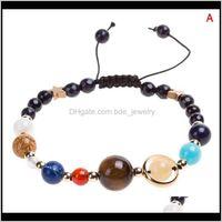 Beaded, Strands Bracelets Jewelrystylish Wild Galaxy Solar System Eight Planets Theme Natural Stone Beaded Fashion Bracelet High Quality Drop
