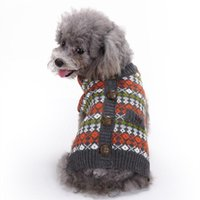 Dog Apparel Striped Sweater Pet Clothes British Style Costume Dogs Thickening Warm Buttons