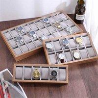 Boîtes de surveillance Cases 6/12/24/30 Grids Box Coussin d'oreiller Style Plaque d'affichage en bois Storage Storage Organisateur Ouvrir Bijoux Multifunctio