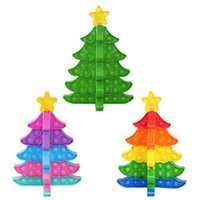 3D Christmas Tree Party Favor Push Bubble Fidget Sensory Toy Antistress Soft Silicone Xmas Decorations Kids Adults Stress Relief for Autism Squeeze Toys DHL