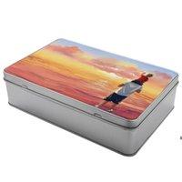 صناديق التخزين التسامي صفيح فارغة تخصيص تخزين مستحضرات التجميل مربع مستطيلة الحلوى جرة سبائك الألومنيوم الجرار المعدنية طريقة البحر HWF7131