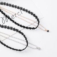 Korean Double Layers Hollow Lace Flower Choker Necklace Sweet Simulated Pearl Beaded Zircon Pendant Necklaces For Women Jewelry Chokers