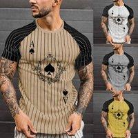 Men's T-Shirts 2021 Summer Men T-shirt O Neck Spade Ace Poker Print Short Raglan Sleeve Stripes Color Block Top For Work Drop