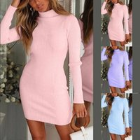 Autumn Winter Warm Long Sleeve Women Knitted Sweater Dress Pink Turtleneck Sweaters Pullover Jumper Female Clothes Casual Dresses