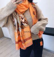 Designer Seidenschal Pashmina für Frauen 2021 Sommer orange Pferd gedruckt lange Schals Schal Wrap 180x90cm Tücher S229