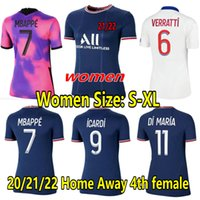 Mujeres Mbappe Soccer Jersey 2021 2022 Cuarto hogar lejos Verratti Kean 21 22 Damas Camisa de fútbol Icardi di Maria Ander Herrera Girls Mujeres Uniformes