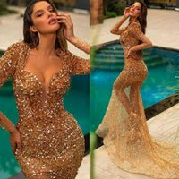 Sexy Gold Sparkly Abendkleider lange Ärmel Illusion Pailletten Robe de Soiree Gelegenheit Party Kleider Mermaid Prom Dress