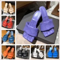 Women Slide Sandal Slipper Many Candy Colors Option Outdoor Beach Slides with High Heel Slippers Fabric Genuine Leather Flip Flops With Original Box