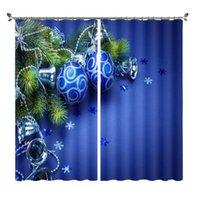 Curtain & Drapes Blue Light Ball Silver Pattern Bell Blackout Curtains Bedroom Living Room Custom Window