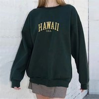 Women's Jackets Giant embroidered Hawaiian sweatshirt, dark green woman's blouse with long sleeves and bald turtlenecks. 49YE