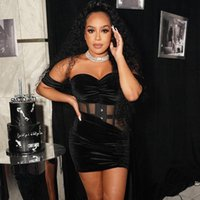 Casual Dresses Sexy Two Piece Set Black Velvet Mesh Sheer Corset Top Short Skirt Rave Birthday Club Outfits For Women Party Dress Sets