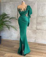 Elegant Mermaid Prom Dresses Sexy Illusion Luxury Beaded SequinsRuffles Satin Evening Dress Formal Party Wear Long Sleeves Custom Made Pageant Robe de mariée