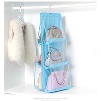 Storage Bags Non-woven Fabric Hanging Bag 6 Pocket Transparent Double Side Closet Foldable For Organize