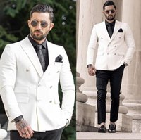 Ivory Mordern Mens Suits Wedding Groom Tuxedos Groomsmen Vent Slim Fit Man Suit Men's Bridegroom 2 Pcs & Blazers