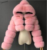 جودة عالية فروي اقتصاص فو الفراء معاطف والسترات النساء رقيق أعلى معطف مع سترة الشتاء مقنعين manteau فام