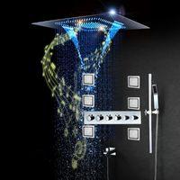 Lussuosi sistemi di doccia di musica di lusso da incasso a led cascata testa pioggia rubinetti bagno rubinetti bagno set termostatico