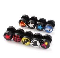 10mm Büyük Çift Kafa Hiçbir Bırak Desen Beş Sivri Yıldız Superman Akrilik Kulak Saplama Toka E1101