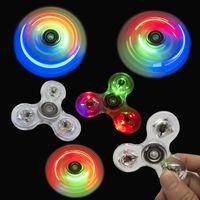 Transparent LED Light Fidget Spinner Hand Top Spinner EDC Spiner Bambini Adulto Giocattolo Adulto R66D Q0423