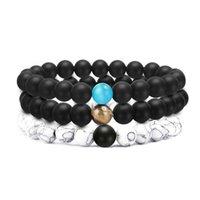8mm Natural Stone Strands Beaded Charm Bracelets For Men Women Elastic Yoga Sports Fashion Jewelry