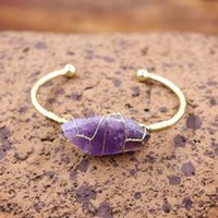 Natural Stone Bangles Cuff Amethyst Copper Bracelets for Women Wire Wrap Irregular Crystal Quartz Girls Kids Jewelrys