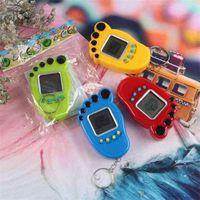 발 모양 전자 애완 동물 Tamagotchi 키 링 빈티지 디지털 포켓 미니 레트로 게임 기계 키 체인 향수 가상 장난감 어린이를위한 성인 G400493