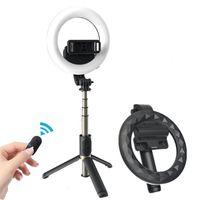 Cool Dier 4in 1 Wireless Bluetooth selfie vara com 6 polegadas LED anel fotografia luz tripé dobrável monopod para iphone android 210409