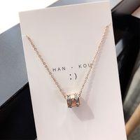 necklace fashion Korean ese super and flash double row square diamond Roman numeral pendant rose gold nelace women's versatile clavicle chain